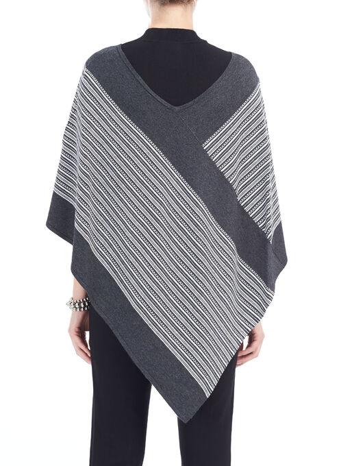 Jacquard Printed Knit Poncho, Grey, hi-res