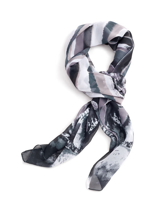 Abstract Print Lightweight Scarf, Grey, hi-res