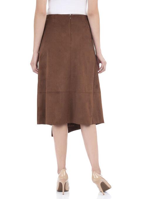 Faux Wrap Ring Detail Skirt , Brown, hi-res