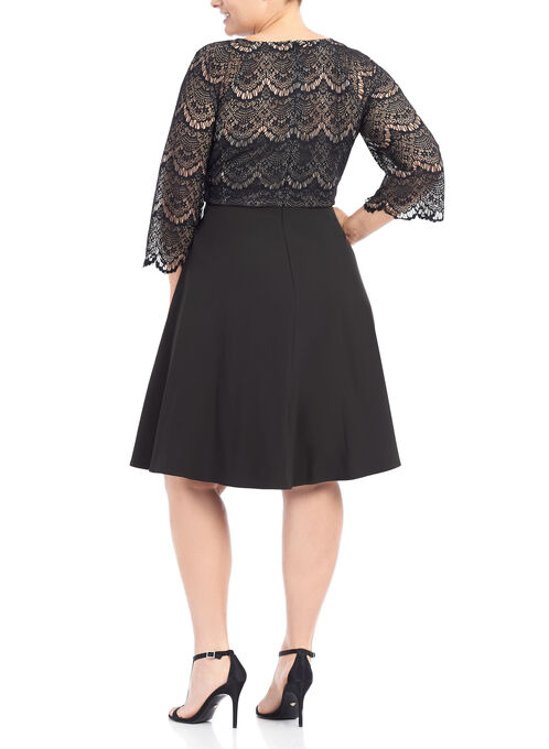 Lace Sleeve Fit and Flare Dress, Black, hi-res