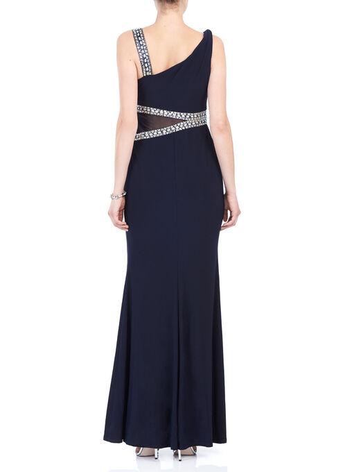 Rhinestone Detail Evening Gown, Blue, hi-res