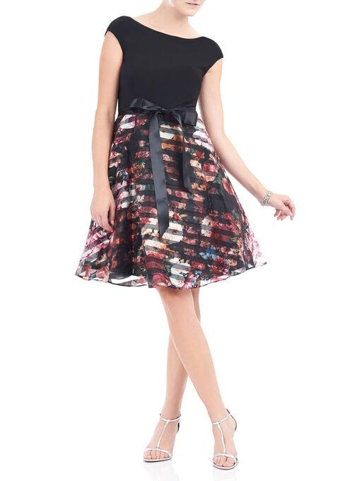 Printed Organza Fit & Flare Dress, Black, hi-res