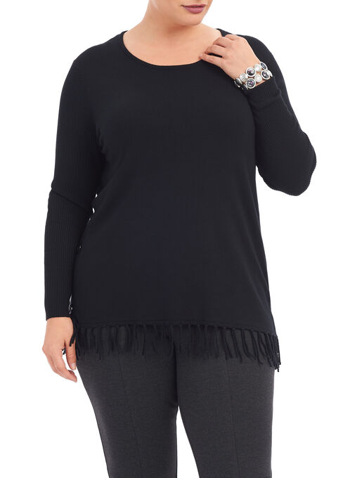 Long Sleeve Fringe Trim Sweater, Black, hi-res