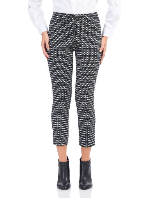 City Fit Printed Slim Leg Pants, Black, hi-res