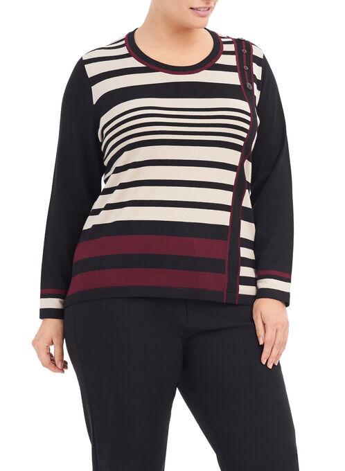 Printed Button Trim Sweater, Black, hi-res