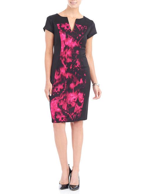 Split V-Neck Scuba Sheath Dress , Red, hi-res