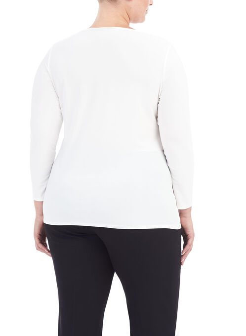 3/4 Sleeve Boat Neck Top, Off White, hi-res