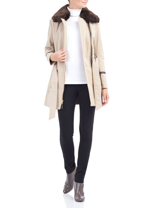 Softshell Belted Jacket , Off White, hi-res