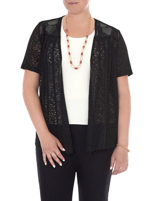 Short Sleeve Crochet Top, Black, hi-res