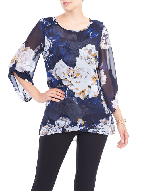Floral ¾ Sleeve Blouse and Cami, Blue, hi-res