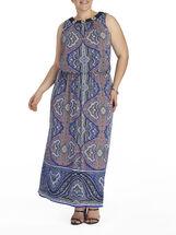 Sleeveless Paisley Print Maxi Dress, Blue, hi-res