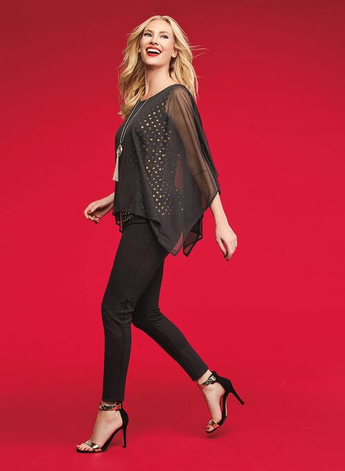 Mesh Poncho-Style Top, Black, hi-res