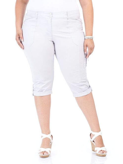 Straight Leg Capri Pants, Grey, hi-res