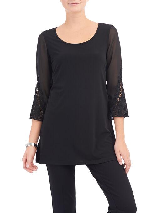 Angle Sleeve Tunic Top, Black, hi-res