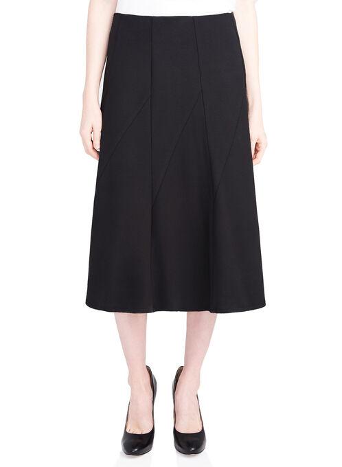 Gored Ponte Skirt, Black, hi-res