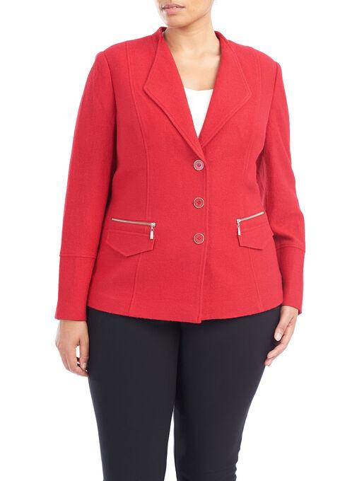 Zipper Trim Button Down Blazer, Red, hi-res