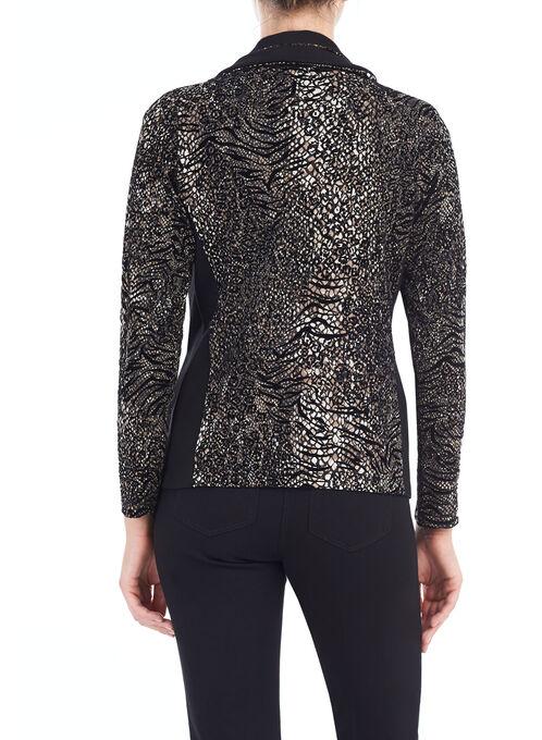 Animal Print Front Zip Jacket, Black, hi-res