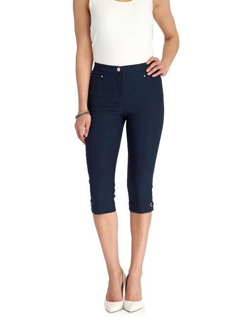 Signature Fit Straight Leg Capri Pants, Blue, hi-res