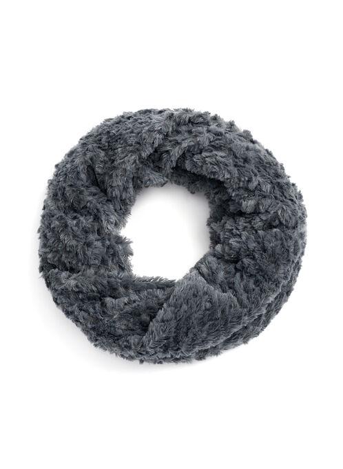 Faux Fur Twist Loop Scarf, Grey, hi-res