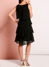 Beaded Trim Chiffon Tiered Dress, Black, hi-res