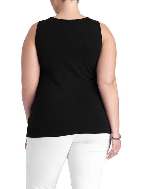 Sleeveless Sequin Trim Top, Black, hi-res