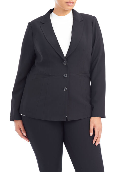 Long Sleeve Notch Collar Jacket , Black, hi-res