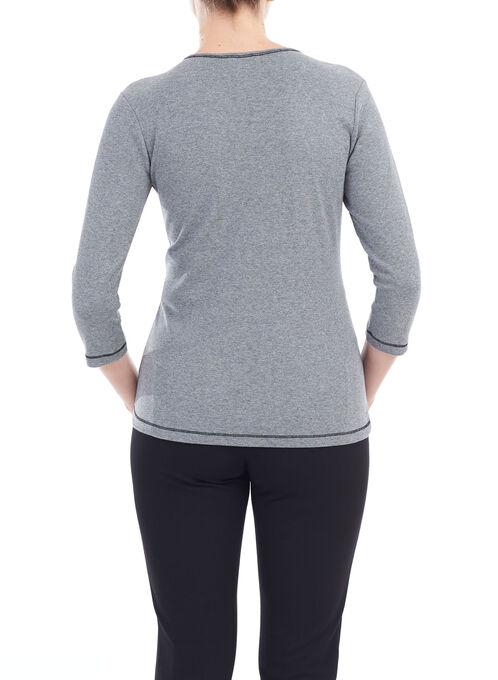 3/4 Sleeve Patchwork Top , Grey, hi-res
