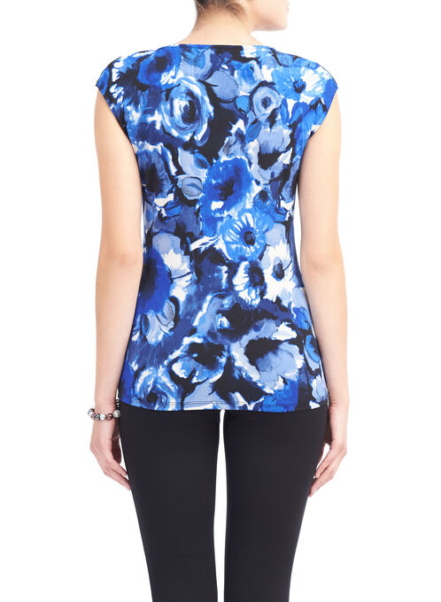 Zip Detail Floral Print Top, Blue, hi-res