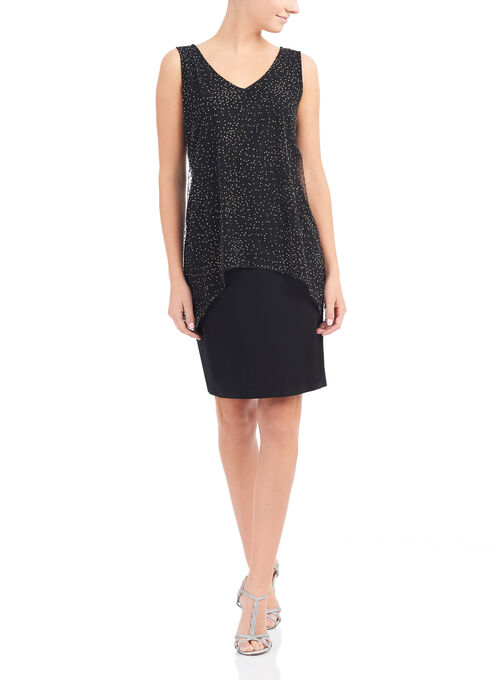 Jersey & Glitter Mesh Popover Dress, Black, hi-res