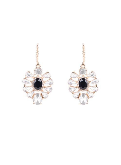 Crystal Dangle Earrings , Black, hi-res