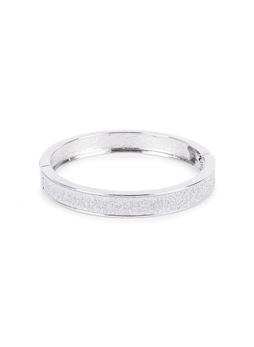 Glitter Bangle Bracelet , Silver, hi-res