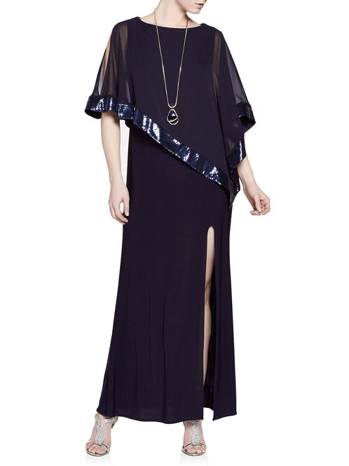 Sequined Chiffon Poncho Overlay Gown, Blue, hi-res