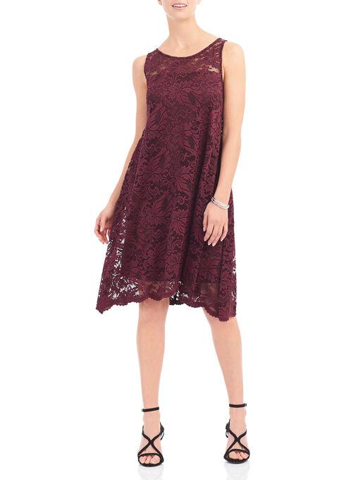 Illusion Neckline Lace Dress, Red, hi-res