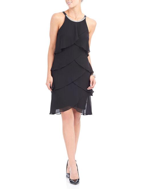 Beaded Neck Tiered Chiffon Dress, Black, hi-res