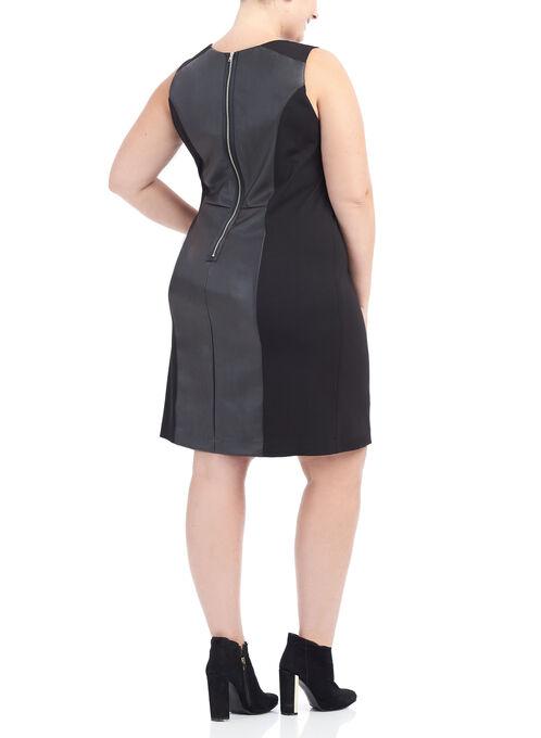 Ponte Faux Leather Sheath Dress, Black, hi-res