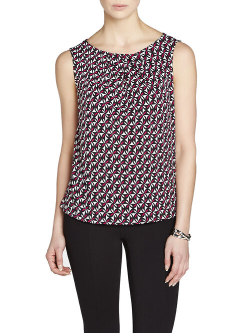 Pleated Neck Geo Print Top, Red, hi-res