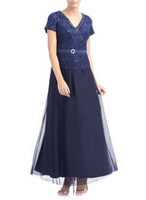 Sequined Lace Peplum Gown , Blue, hi-res