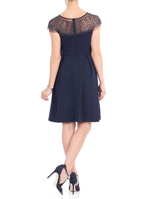 Beaded Mesh Yoke Crepe Dress , Blue, hi-res