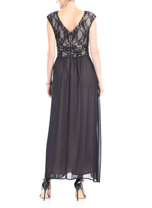 Sleeveless Chiffon & Sequin Gown , Black, hi-res