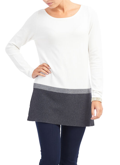Colour Block Knit Top, White, hi-res