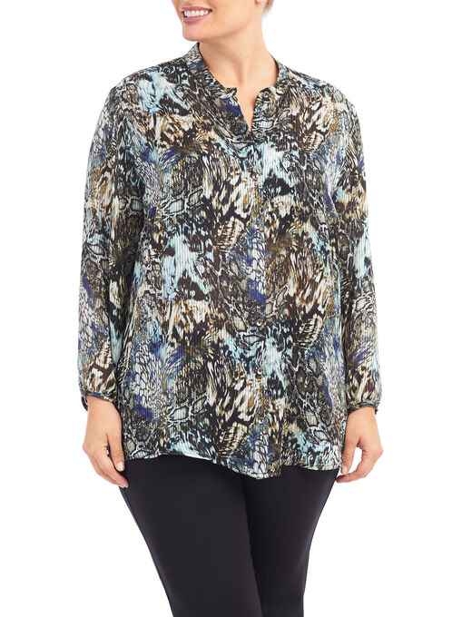 Printed Tunic Blouse, Blue, hi-res