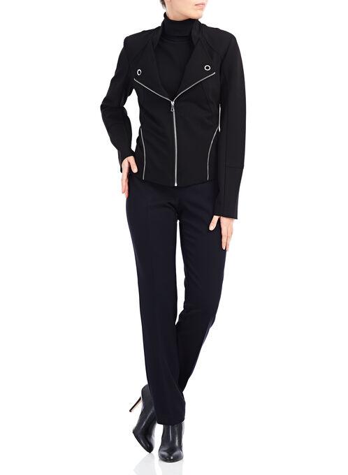 Linea Domani Zipper Trim Jacket , Black, hi-res