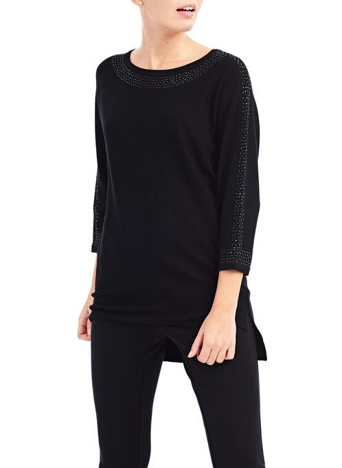 Rhinestone Trim High-Low Sweater, Black, hi-res