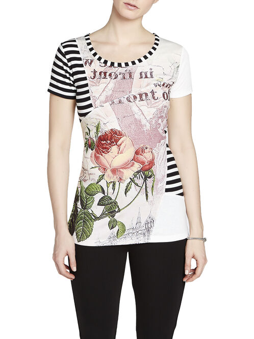 Placement Floral & Stripe Print Patchwork T-Shirt, Red, hi-res