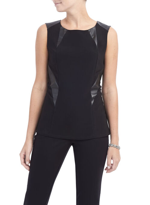 Sleeveless Faux Leather Top, Black, hi-res