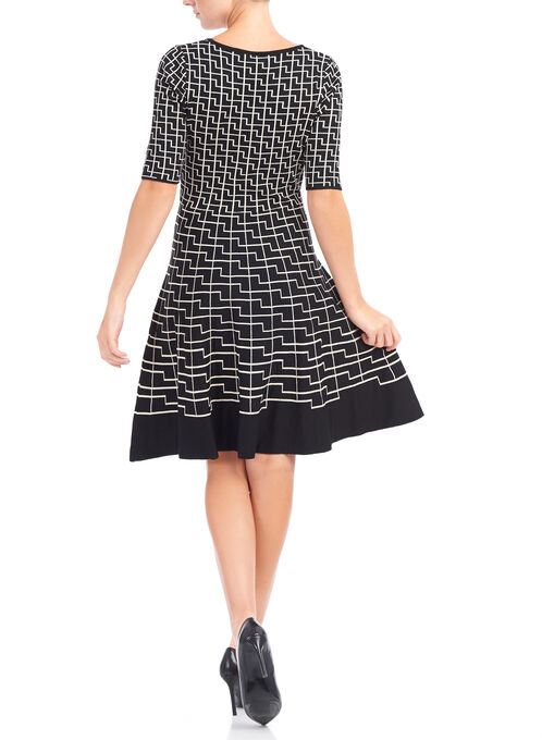 Abstract Print Knit Sweater Dress, Black, hi-res
