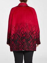 Grid Plaid Border Print Wool Jacket, Red, hi-res