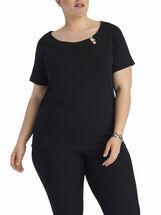 Modern Keyhole Boat Neck T-Shirt, Black, hi-res