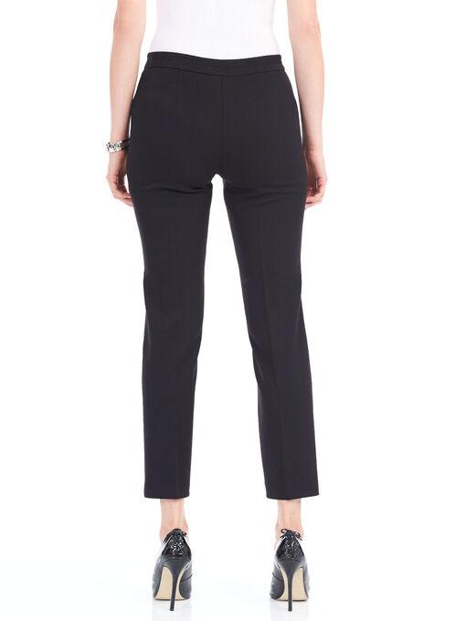 Straight Leg Zipper Trim Pants, Black, hi-res