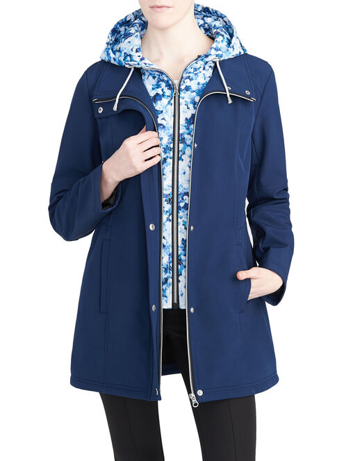 Softshell Anorak Coat with Zip-Out Floral Print Insert, Blue, hi-res
